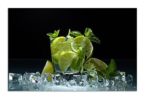 Wallario Herdabdeckplatte/Spritzschutz aus Glas, 1-teilig, 80x52cm, für Ceran- und Induktionsherde, Motiv Mojito - Cocktail mit Limetten, EIS und Minze