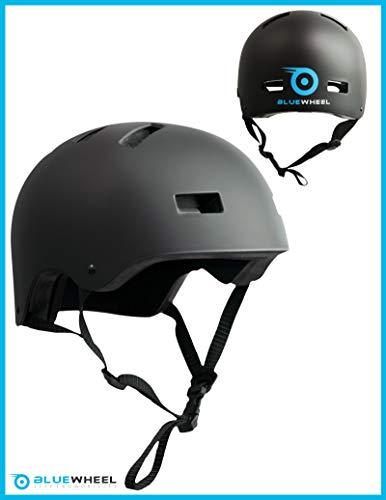 Bluewheel Helm H30 für Hoverboard, Inline-Skate, BMX Fahrrad; 3 schichtiger Aufbau für mehr Sicherheit, Belüftungssystem, passgenau in matt schwarz - für Kinder & Erwachsene (L) (L)