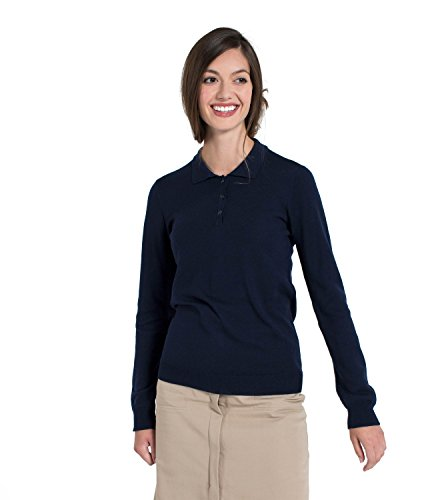 WoolOvers Polo à manches longues - Femme - Pur Mérinos Navy