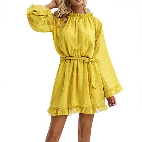 Sumeiwilly Damen Abendkleid Kurz Spitze Sommerkleider Flare Sleeve Langarm Kleid V Ausschnitt Enge Minikleid Sexy Cocktailkleid Elegant Kleider Kurz Strand Kleidung Partykleider Satin Flare