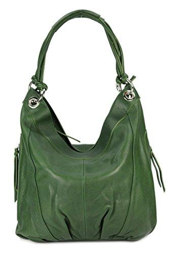 BELLI® ital. Nappa Leder Shopper Beuteltasche - Freie Farbwahl - 35x31(mittig)x17 cm (B x H x T) (dunkelgrün) (Hobo Bella)