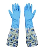HOKIPO Reusable PVC Hand Gloves for Kitchen (Blue, Free Size) 1 Pair