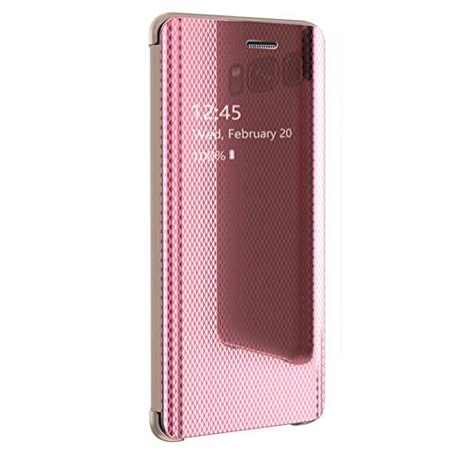 hülle Kompatibel mit Galaxy S8 Handyhülle Spiegel leder smart Schutz Galaxy S8 Plus Flip Cover mit Standfunktion kratzfest Langlebig Bumper Stoßfest 2 in 1 Case (pink, Galaxy S8 Plus) Translucent Pink Case Cover
