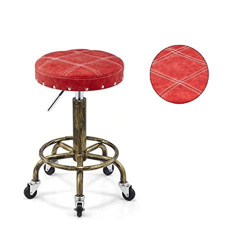 XJZHAN Poltrona da Massaggio Rotonda Regolabile in Altezza Materiale Retro in PU con Ruote Girevoli Sgabello da Taglio Idraulico per Parrucchiere,Rosso