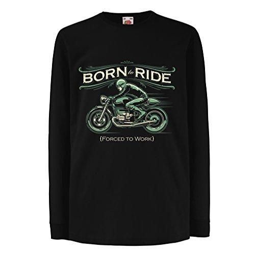 Kinder-T-Shirt mit Langen Ärmeln Born to Ride, Forced to Work - Saying Shirts for Motorcyclists (14-15 Years Schwarz Mehrfarben) (Kokain Kostüm)