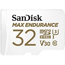 SanDisk MAX ENDURANCE Video Monitoring for Dashcams & Home Monitoring 32 GB microSDHC Memory Card + SD Adaptor 15,000 Hours Endurance