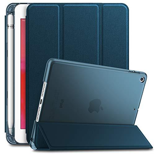 Infiland iPad Mini 5 Hülle mit Apple Pencil Halter, Slim Ultraleicht PC Shell Schutzhülle Cover mit Auto Schlaf/Wach Funktion für iPad Mini 5 2019,Dunkleblau