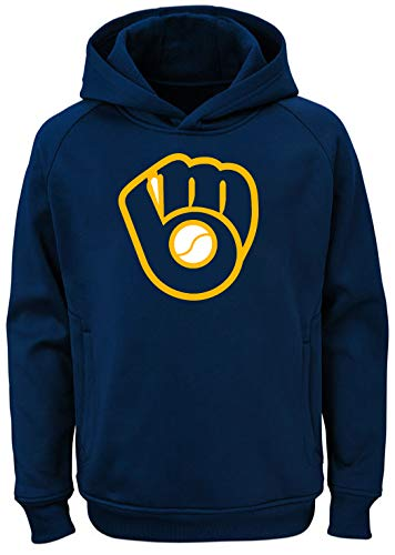 Angel Youth T-shirt (Outerstuff MLB Youth 8-20 Team Color Polyester Performance Primary Logo Pullover Hoodie Hoodie, Jungen, Milwaukee Brewers, X-Large 18/20 US)