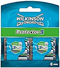 Wilkinson Sword Protector 3 Refill Cartridges Razor Blades, 8 Count (Comparable to Schick Protector) + Schick Slim Twin ST for Sensitive Skin