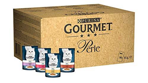Purina Gourmet Perle Umido Gatto Filettini in Salsa con Trota, Tacchino, Anatra e Selvaggina, 96 Buste da 85 g Ciascuna