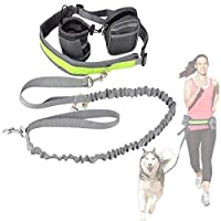 Cadrim Hands Free Dog Walking Belt Ajustable Dog Leash Waist Belt Pet Dog Leash Coupler Running and Jogging Lead Belt for Dogs with 2 Pack Bags and Reflective Strip ... (grey)