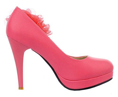 YE Damen Elegant Stiletto High-heel Plateau Pumps mit Blumen Perlen Strass Braut Schuhe für Hochzeit Rosa