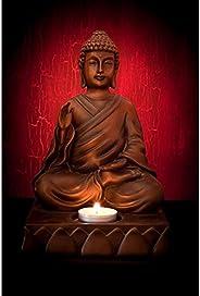 Pitaara Box Meditating Buddha Pose Canvas Painting MDF Frame 18 X 27Inch