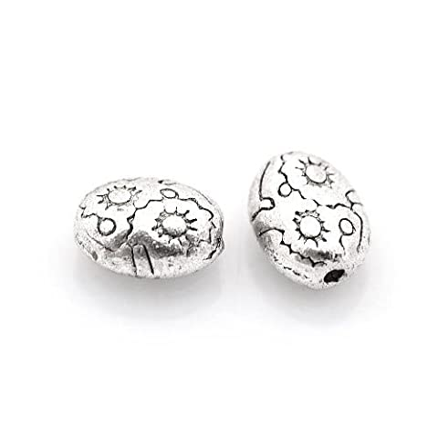 Packet of 30 x Antique Silver Tibetan 6 x 8mm Oval Spacer Beads - (HA17525) - Charming Beads