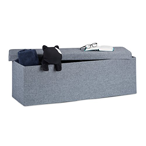 Relaxdays Faltbare Sitzbank XXL, Sitzcube mit Stauraum, Sitzwürfel aus Leinen, mit Deckel, HBT 38x114x38 cm, dunkelgrau (Kind-wohnung Großes)