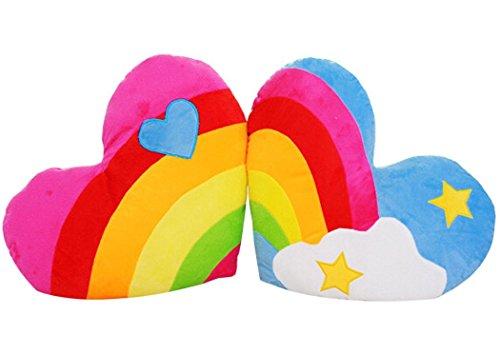 Woneart morbido cuscini amore a forma di cuore di sostegno posteriore peluche san valentino regalo decorazione giocattoli di pezza (rainbow, 2pcs)