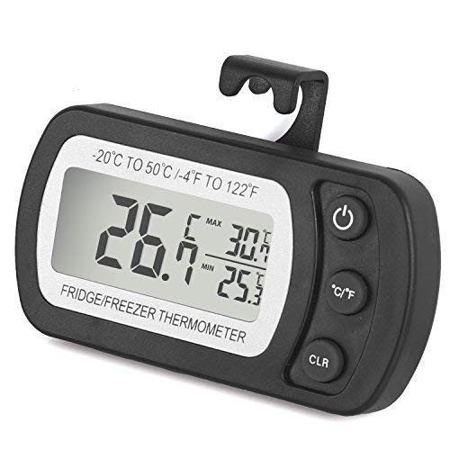 Unigear Kühlschrankthermometer, mit Haken, Anzeige mit MIN/MAX-. Speicherwerten, digitales Thermometer für Gefrierschrank Tiefkühltruhe Weinkühlschrank, wasserabweisend (Schwarz-1 Stück)