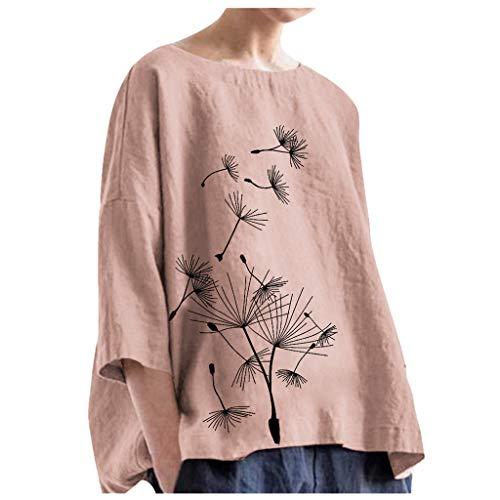 Fenverk Damen Herbst Baumwolle Leinen Blouse Kleid Neue Frauen-Baumwollleinen Lange Bluse UnregelmäßIger Lose BeiläUfige Weinlese-Hemd-Kleid(Rosa,4XL)