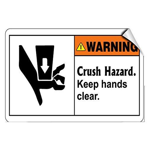 Preisvergleich Produktbild Vinyl-Aufkleber mit Aufschrift Warning Crush Hazard Keep Hands,  25, 4 x 17, 8 cm