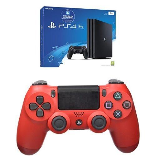 PlayStation 4 Pro (PS4) - Consola de 1 TB (incluye recarga de monedero de 10 €) + Sony - Controlador Dualshock 4 V2, Color Magma Red (PS4)