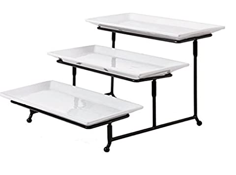 3 Tier Rectangular Serving Platter, Tiered Cake Tray Stand, Food