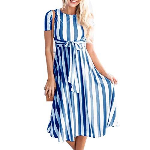 Cimenn Frau Midi Maxi-Kleid Rundhalsausschnitt Kurze Ärmel Lace Up Stripes Printed (XL-Blau) Lace Up Stripe
