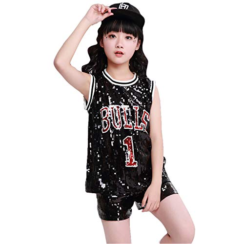 LOLANTA Kinder Pailletten Jazz Tap Dancewear Outfit Top & Shorts Hip Hop Modern Dance - Danse Kostüm Fille