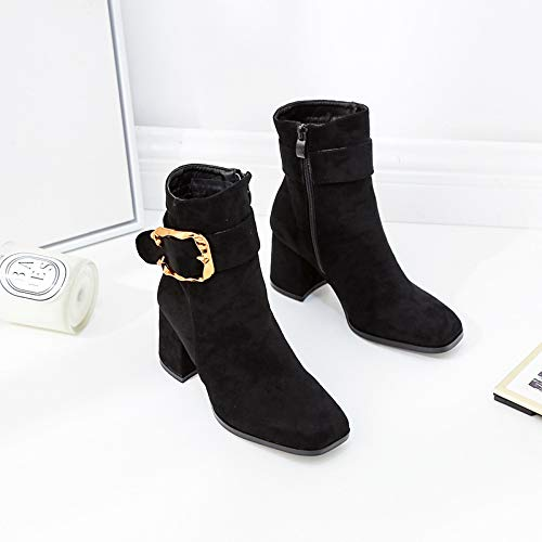 HOESCZS Botas De Mujer Women's Autumn and Winter New Short Boots Wild Square Head Belt Buckle Women's Boots Fashion Slim High Heel Thick with Women's Shoes, Black, 35