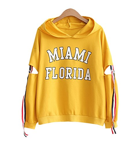 DaBag Damen Herbst Dünn Kapuzenpullover College Kawaii Sweatshirts Studentisch Pullover Langarm Sweater Lose T-shirts (One size, Gelb) College-pullover Sweatshirt