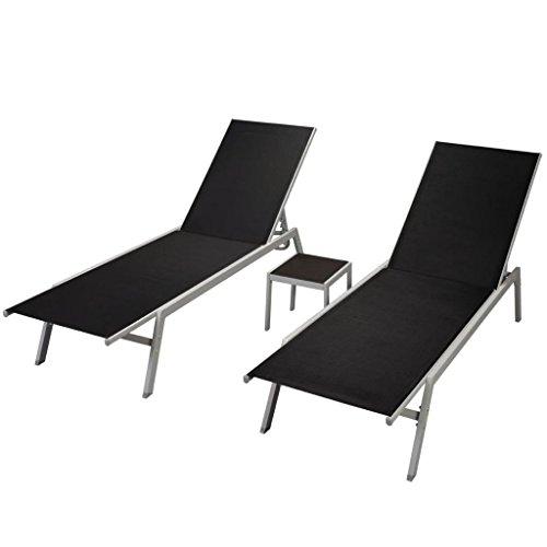 Fesjoy sdraio da giardino lettini da giardino coppia set da sole reclinabile per esterno regolabile sdraio da giardino con un tavolo pieghevole lettino in piscina set di mobili, telaio in acciaio