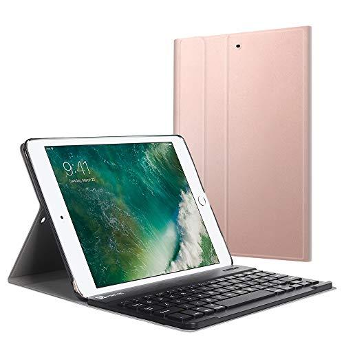 Fintie Bluetooth Tastatur Hülle für iPad 9.7 Zoll 2018 2017 / iPad Air 2 / iPad Air - Ultradünn leicht Ständer Keyboard Case mit magnetisch Abnehmbarer drahtloser Deutscher Tastatur, Roségold