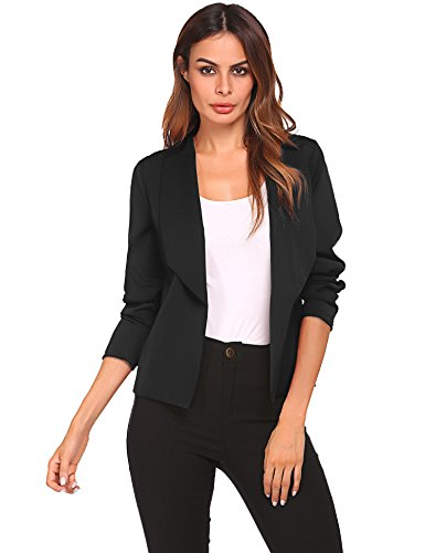 Zeela Damen Blazer Kurzjacke Jacke Klassischer Verschlussloser Kurzblazer Taillierter mit Langarm und Schal Kragen