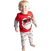 uBabamama Christmas Santa Claus Print Long Sleeve Tops +Stripe Pants for Toddler Kids Baby Girls Boys Xmas Pajamas Set(Red,Recommended Age:3-4 Years/120)
