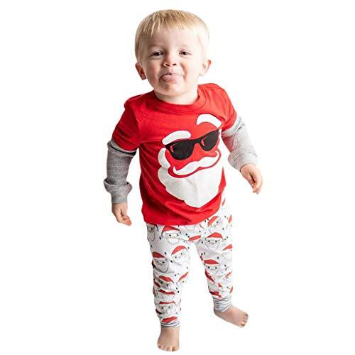 Isshop Baby Kostüm Kleinkind Kinder Baby Mädchen Jungen Weihnachten Weihnachtsmann Print Soft Pyjama Hosen Set Casual Comfort Set für Jungen und (Monster High Kostüm Für Kleinkind)
