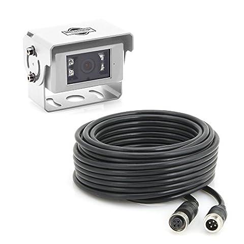 Caméra de recul en blanc avec câble et RCA Adaptateur pour le raccordement à votre système de navigation ou moniteur/caméra de recul-pour nachrüsten/caravane/camping-car/caravane/Transporter