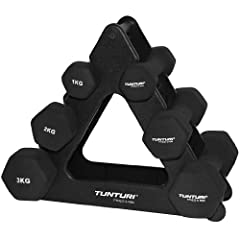 Idea Regalo - Tunturi - Set di manubri in Neoprene con Supporto Triangolare, Nero (Nero), N/A
