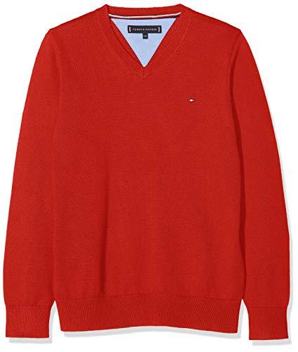Tommy Hilfiger Jungen Pullover Essential Organic V-Neck Sweater, Rot (Apple Red 627), 164 (Herstellergröße: 14)