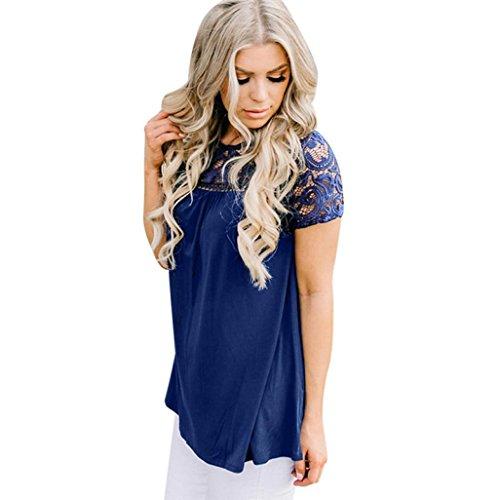 ❤️Femmes Chemisier en dentelle sans manches débardeur T-shirt Tefamore (FR-44/CN-XL, Bleu)