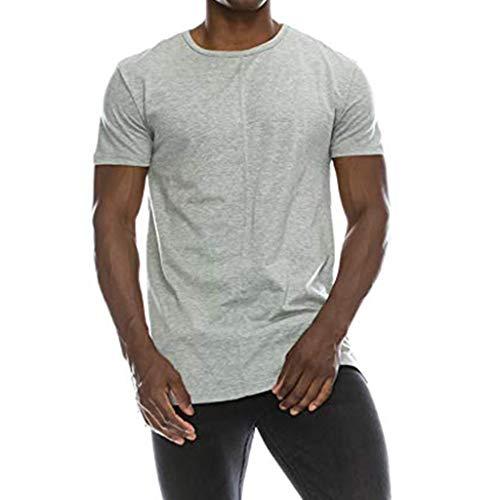 OVINEE Shirt für Männer Tanks Weste Daliy Herren Hipster Hip Hop Solide Extended Hemline Split Side T-Shirt Muskelbluse
