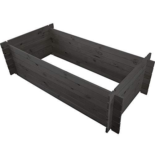 PROHEIM Holzkomposter 170 x 85 x 51 cm Anthrazit Kompostbehälter aus 100% FSC Holz Stabiler Gartenkomposter mit Stecksystem 500 Liter Fassungsvermögen