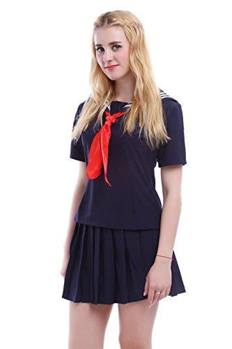 Nuoqi® Japanisch Einheitliche Cosplay Kurzarm Schule Einheitliche Seemann Kostüm Frauen Dunkelblau (EU 40, GC47C) (Seemann Mädchen Kostüme)