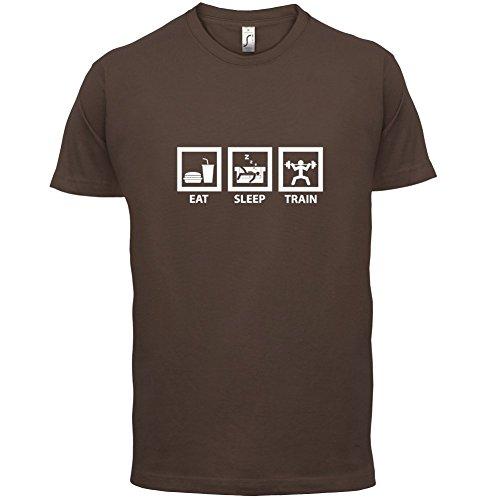 Eat Sleep Train - Herren T-Shirt - 13 Farben Schokobraun
