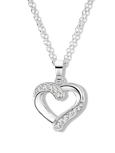 Price comparison product image Jo for Girls Sterling Silver and Cubic Zirconia Heart Pendant on 40.5cm Chain