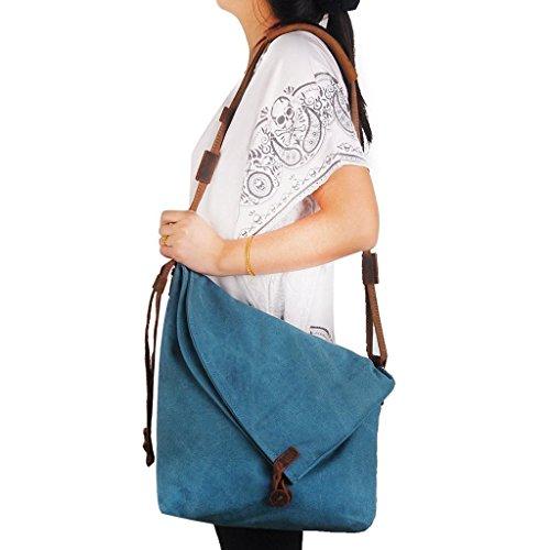 Minetom Unisex Tela Borsa Stile Universitario Messenger Sacchetto Della Tracolla Blu