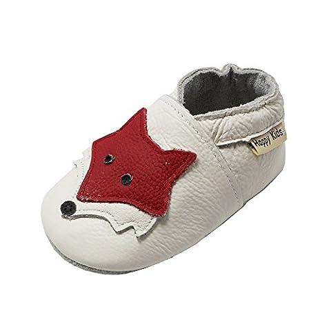 Happy Kids Chaussures Bébé Chaussures Bébé en cuir Souple Bébé Chaussures Souples Avec le renard(Blanc,6-12 Mois)