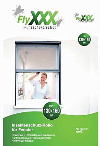 FlyXXX Insektenschutz Schiebefenster-Rollo, mit automatischem Einzug, in braun oder weiß (weiß)