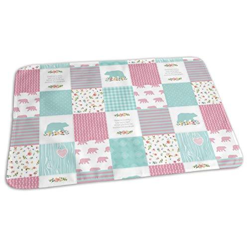 Pink U0026 Aqua Bears Patchwork - Woodland Quilt Top Wholecloth Baby Girl Nursery, Pink U0026 Aqua Baby Portable Reusable Changing Pad Mat 19.7x 27.5 inch -