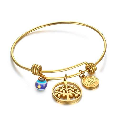 Yonsenner braccialetto con charms bracciale semplice bracciali in oro bianco con tag albero vita d'oro per donna