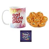 "YaYa Cafeâ""¢ Holi Sweets Gift Combo Eat Drink Play Mug, Coaster, Chandrakala - 1kg"