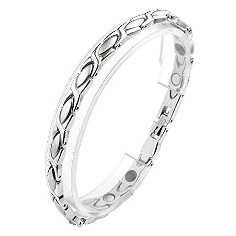 Zysta Schmuck Damen Edelstahl Armband Magnetarmband X Oliven Form Link